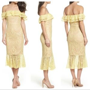 Jarlo Toril Off the Shoulder Lace Midi Dress
